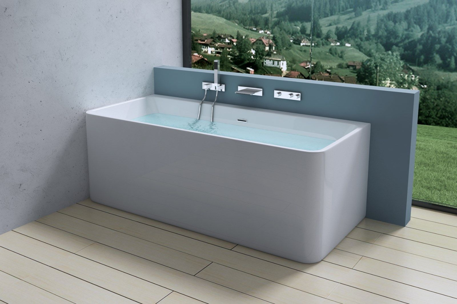 AquaSoak Square Luxury Modern Wall Mount Bath Tub Acrylic Designer ...
